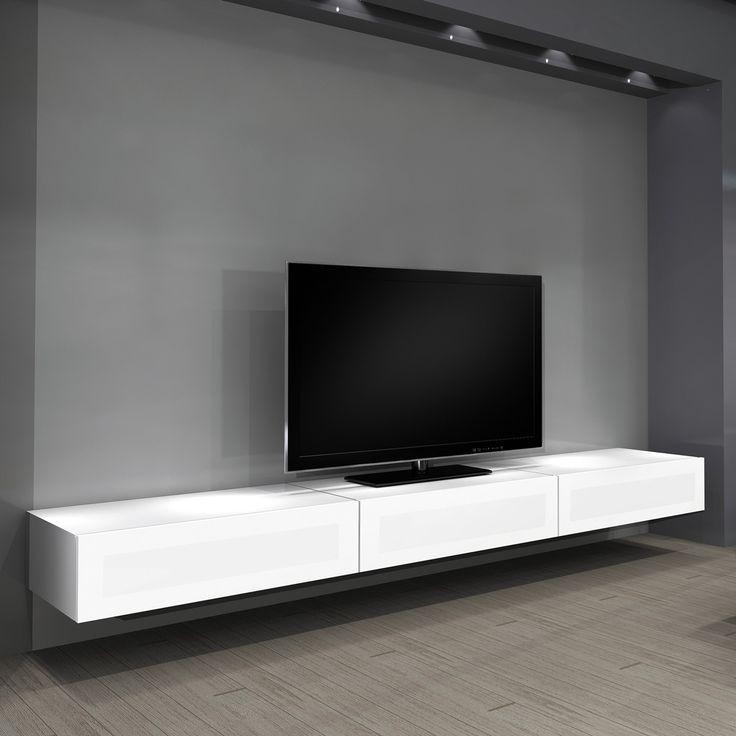 Wall Units: Stunning Floating Tv Wall Unit Floating Tv Cabinet With Most Popular Long White Tv Cabinets (Image 17 of 20)