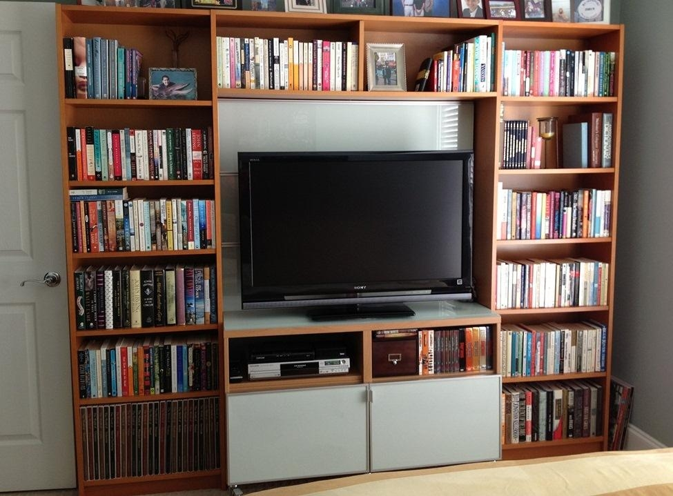 Wall Units: Stunning Tv Bookcase Unit Tall Tv Stand, Small Tv Within Most Current Tv Stands With Bookcases (View 9 of 20)