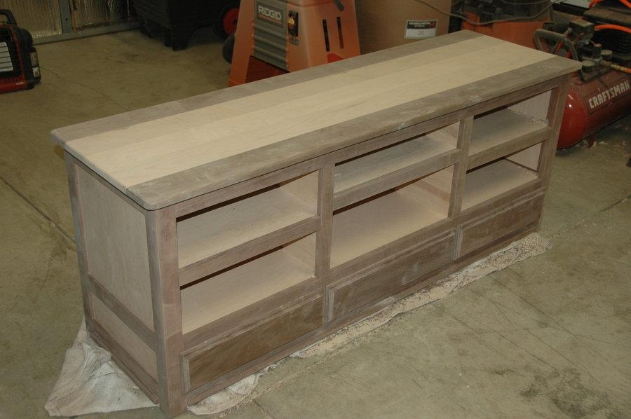 Walnut & Curly Maple Tv Stand  Dmoore @ Lumberjocks Intended For Latest Maple Wood Tv Stands (Image 20 of 20)