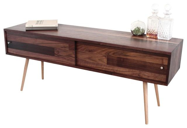 Walnut Tv Stand With Sliding Doors – Midcentury – Entertainment Regarding Most Up To Date Walnut Tv Cabinets With Doors (Image 20 of 20)