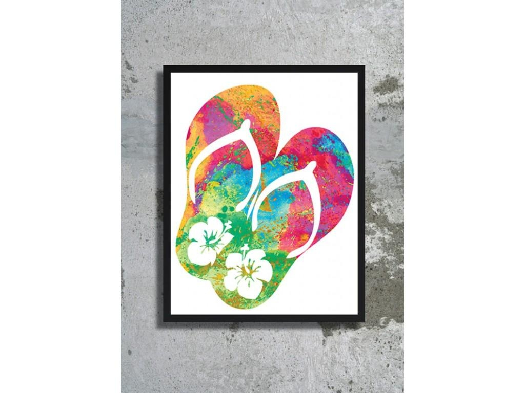 Watercolor Art Print Flip Flops Art Ocean Painting Sea Poster For Flip Flop Wall Art (Image 20 of 20)