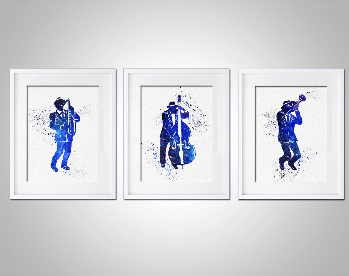 Watercolor Art Print Jazz Band Set Of 3 Modern 8X10 Wall Art Decor In Wall Art Sets Of  (Image 19 of 20)