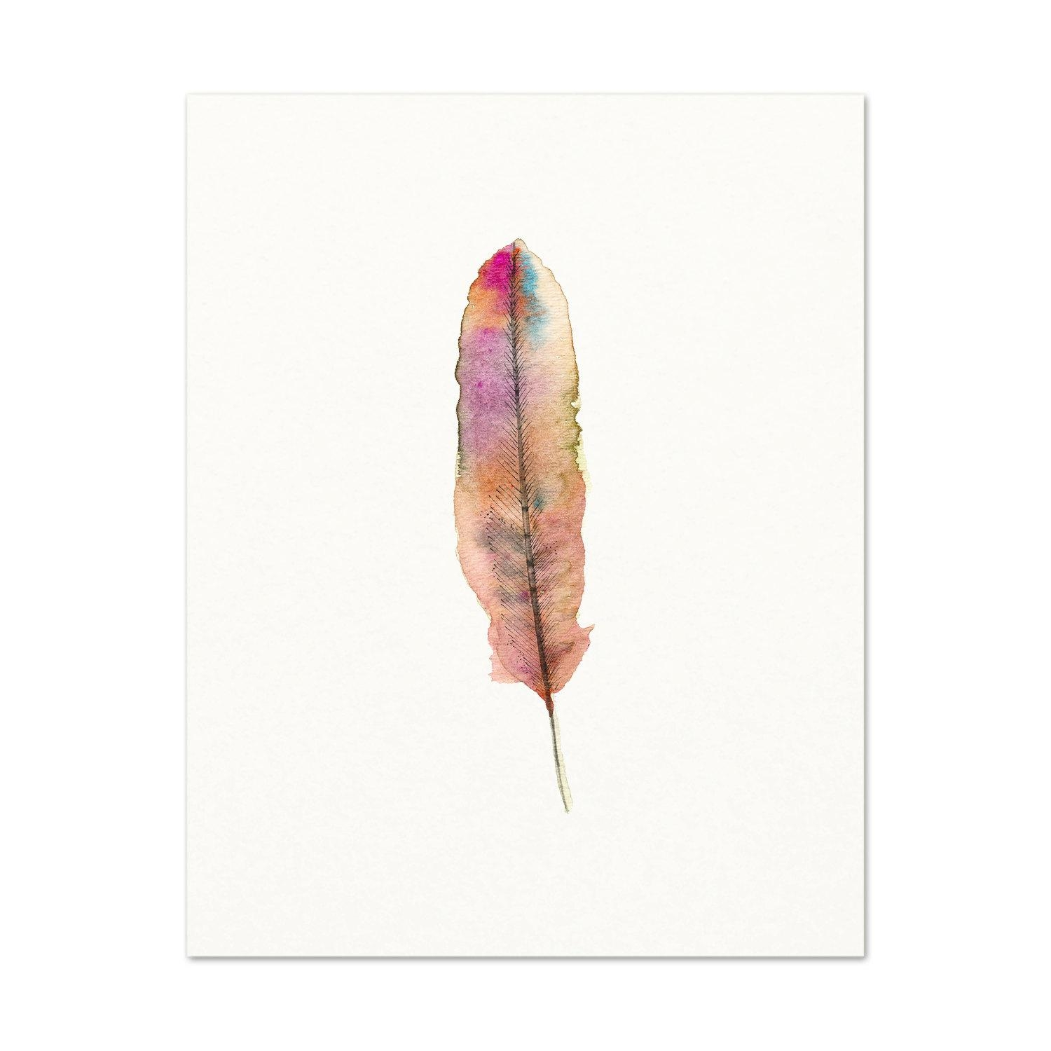 Watercolor Feather Art Print Pink Watercolor Feather In Boho Chic Wall Art (Image 20 of 20)