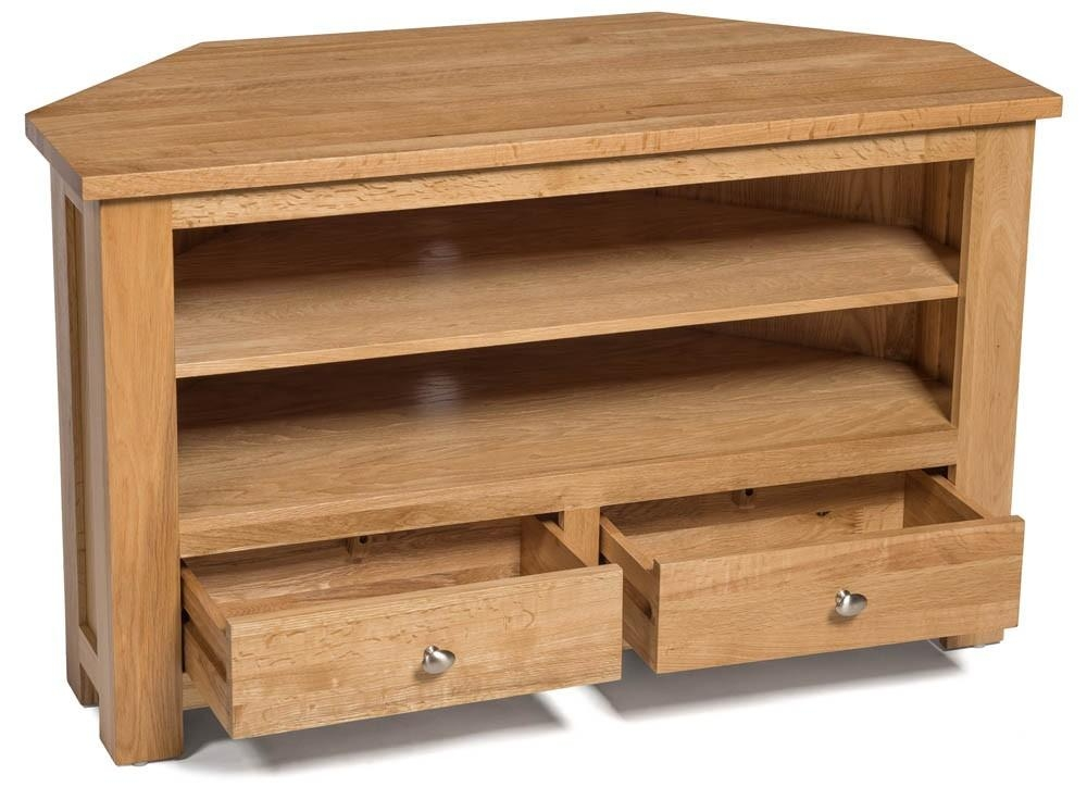 Waverly Oak 2 Drawer Corner Tv Stand Unit | Hallowood Pertaining To Current Light Oak Corner Tv Cabinets (View 4 of 20)
