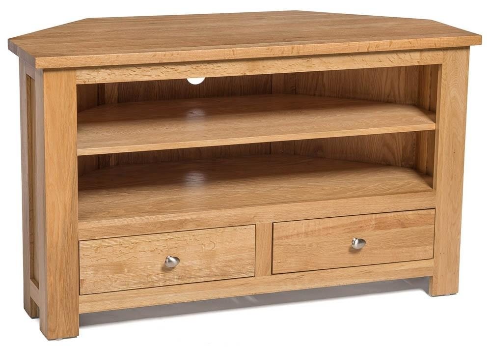 Waverly Oak 2 Drawer Corner Tv Stand Unit | Hallowood Within Most Popular Oak Corner Tv Cabinets (Image 20 of 20)