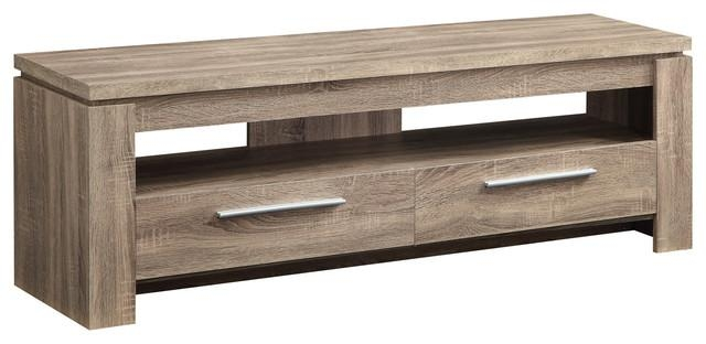 Weathered Finish Tv Stand Wood Console Table 2 Drawers Regarding Most Recent Wooden Tv Stands (Image 16 of 20)
