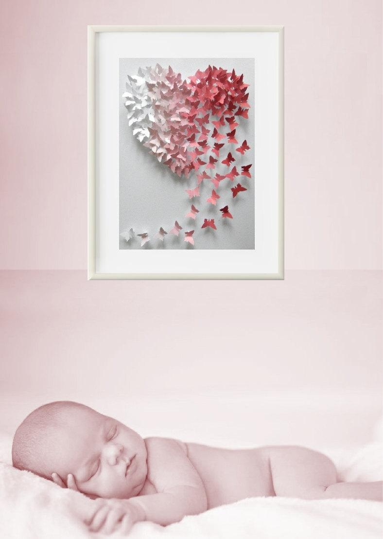 Wedding 3D Framed Personalised Butterfly Pink Ombre Heart Wall Art With 3D Butterfly Framed Wall Art (Image 20 of 20)