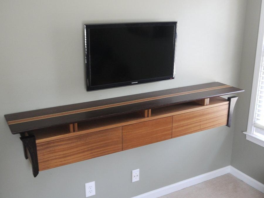 Wenge And Sapele Wall Mounted Tv Console (View 5 of 20)
