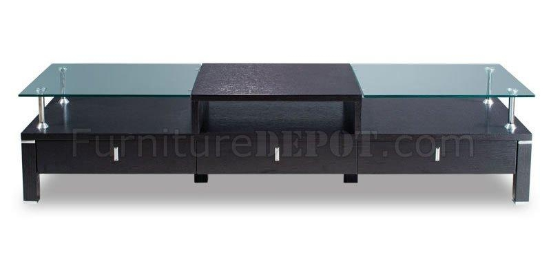 Wenge Color Contemporary Tv Stand With Glass Top Throughout 2017 Wood Tv Stand With Glass Top (View 9 of 20)