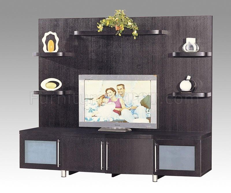 Wenge Finish Contemporary Tv Stand With Cabinets And Shelves For 2017 Wenge Tv Cabinets (Image 17 of 20)