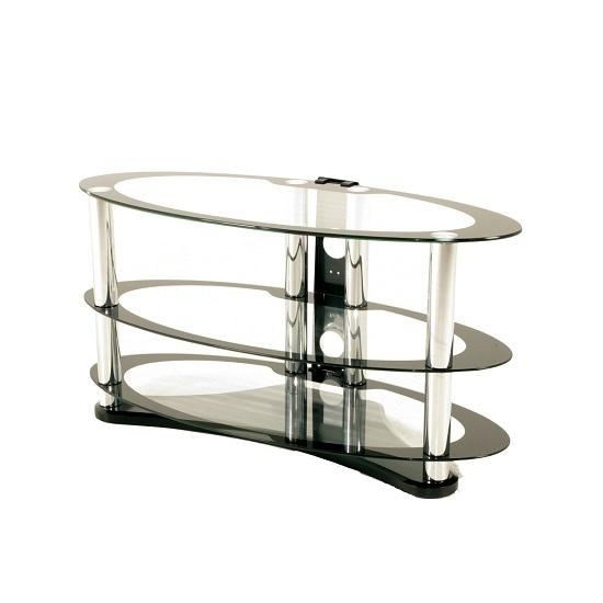 Westa Glass Tv Stand Oval In Clear With Black Border 31256 For Most Popular Oval Glass Tv Stands (Image 19 of 20)