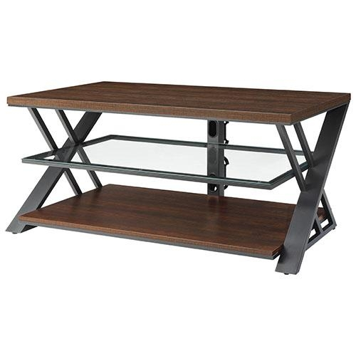 Whalen Wood & Metal Tv Stand – Silver/brown : Tv Stands – Best Buy Throughout Newest Metal And Wood Tv Stands (View 15 of 20)