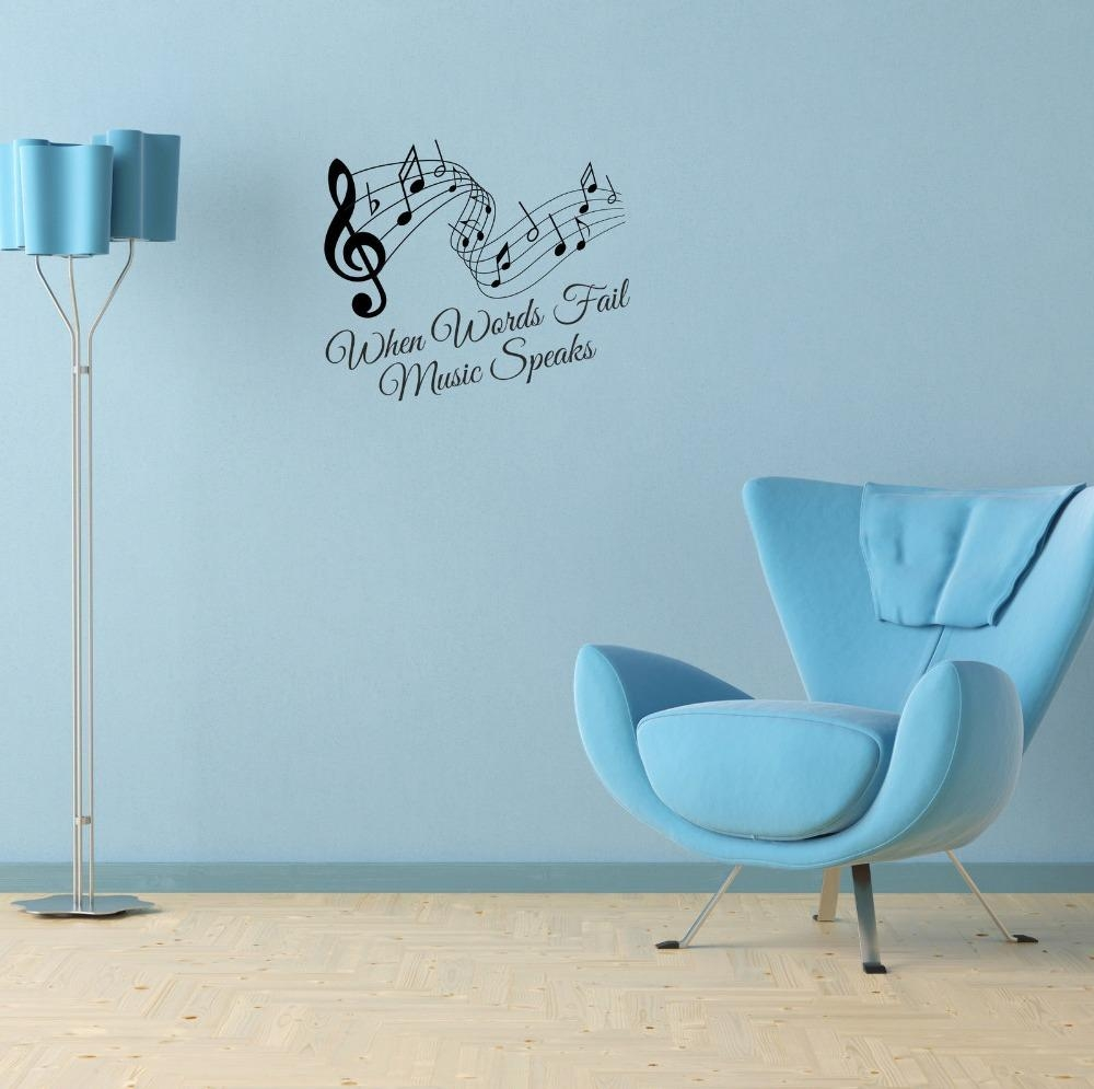 When Words Fail Music Speaks Quote And Music Notes Vinyl Wall Art Throughout Music Notes Wall Art Decals (View 14 of 20)