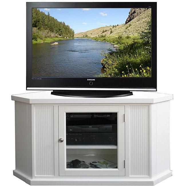 White 46 Inch Corner Tv Stand & Media Console – Free Shipping Within Newest Corner Tv Stands For 46 Inch Flat Screen (Image 20 of 20)