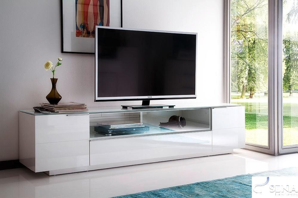 White & Black Gloss Tv Units, Stands And Cabinets – Sena Home With 2018 Cream Gloss Tv Stands (Image 19 of 20)