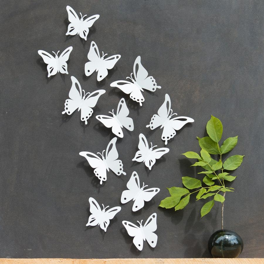 White Butterfly Wall Decor 3D Set Of 12 Popart Made In Pertaining To White Metal  Butterfly
