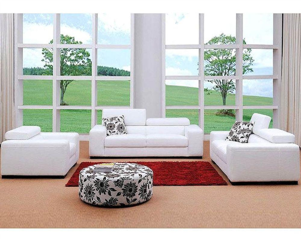White Fabric Sofa Set 44L0803 Within White Fabric Sofas (View 13 of 20)