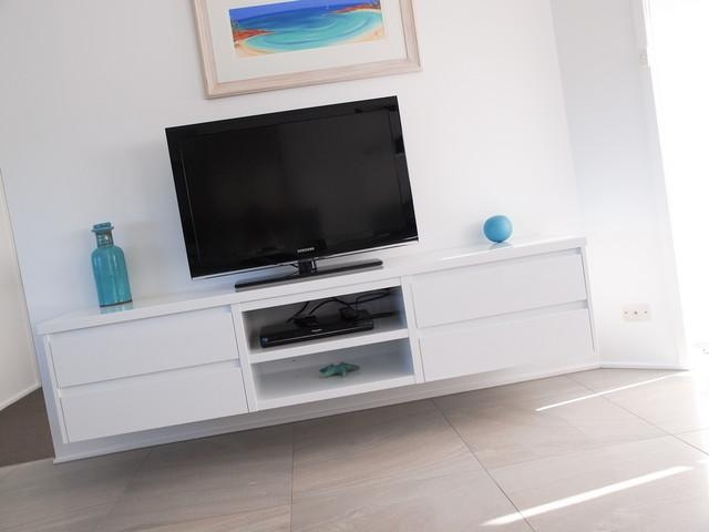 White Gloss Polyurethane Floating Tv Cabinet With Shadowline Drawers Inside Newest White Tv Cabinets (Image 17 of 20)