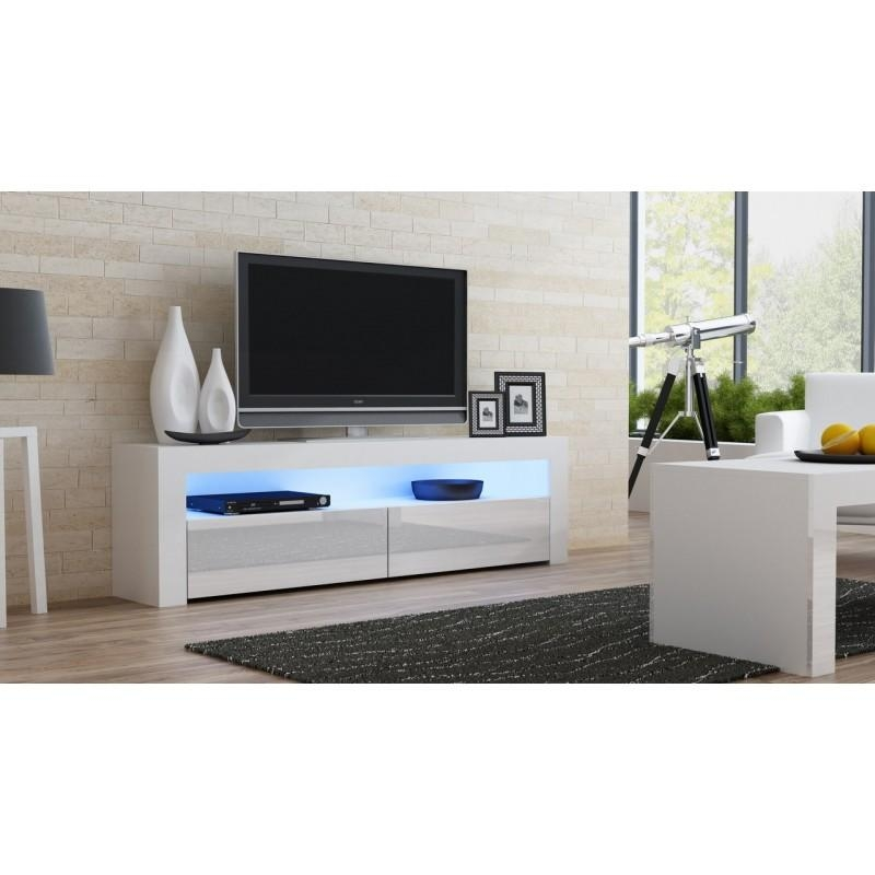White Gloss Tv Stand – Milano 157 – Concept Muebles For Newest White Gloss Tv Cabinets (Image 19 of 20)
