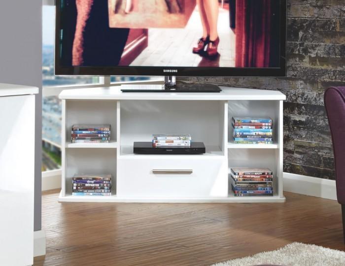 White High Gloss Corner Tv Unit Intended For Recent High Gloss Corner Tv Unit (View 3 of 20)
