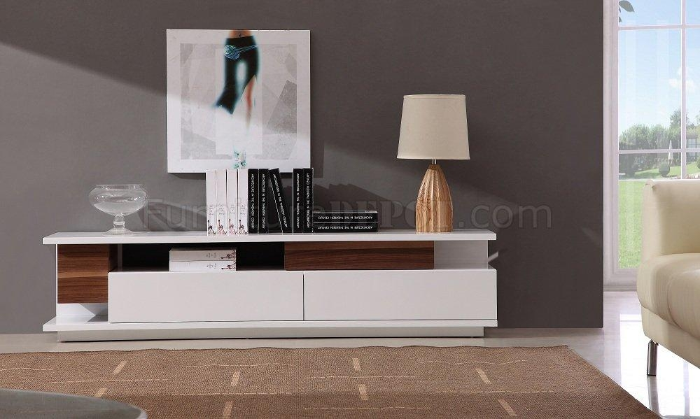 White Lacquer Finish Modern Tv Stand W/two Large Drawers Regarding Most Recent Large White Tv Stands (Image 20 of 20)
