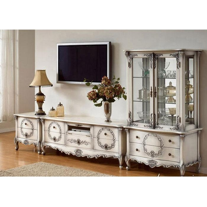 White Painted Tv Cabinet | Indonesian French Furniture | Teak Within Most Recently Released French Country Tv Cabinets (View 6 of 20)