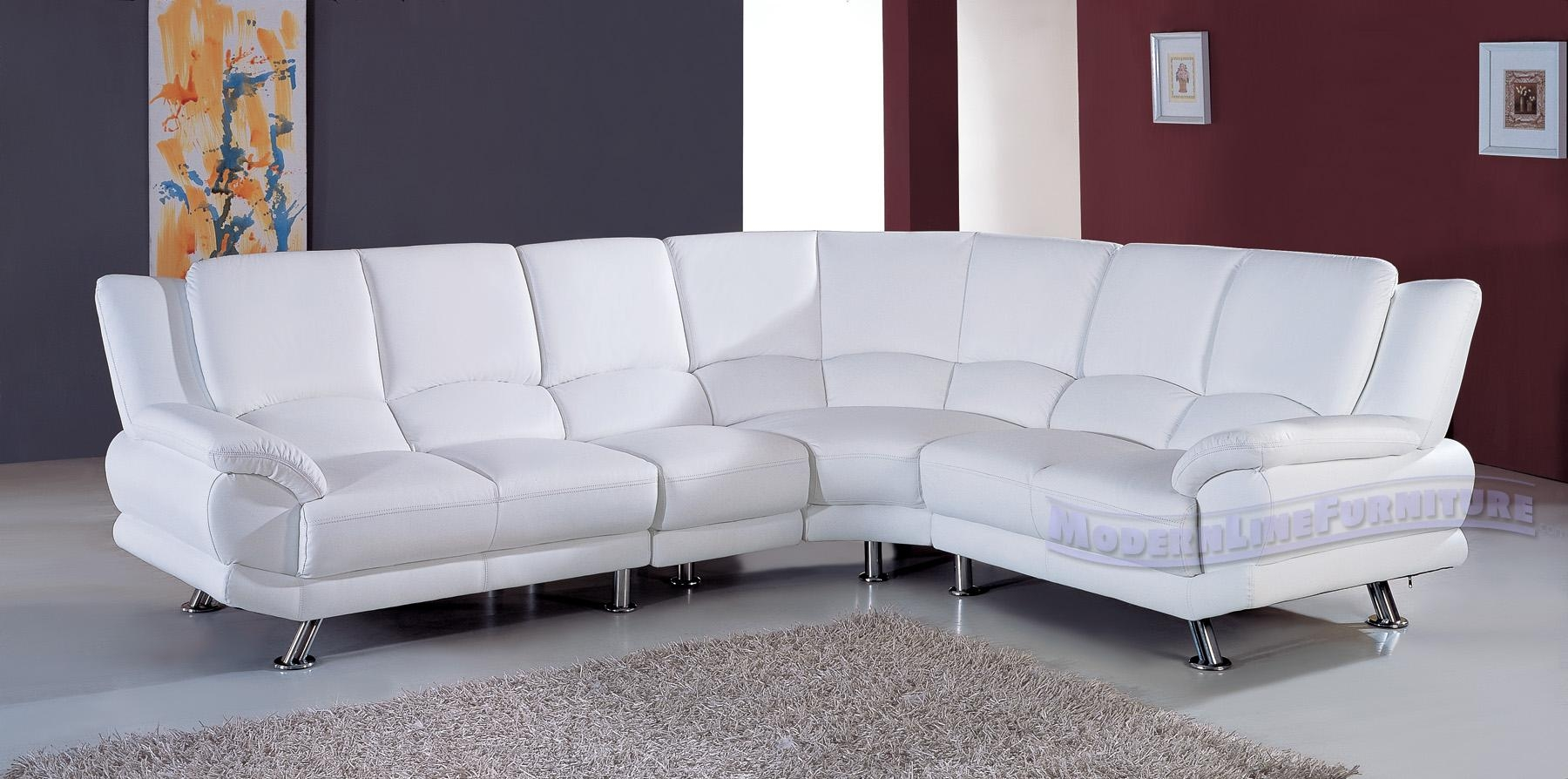 White Sectional Leather Sofa Modern And At In Elegant White Sofas Intended For White Sectional Sofa For Sale (View 4 of 21)