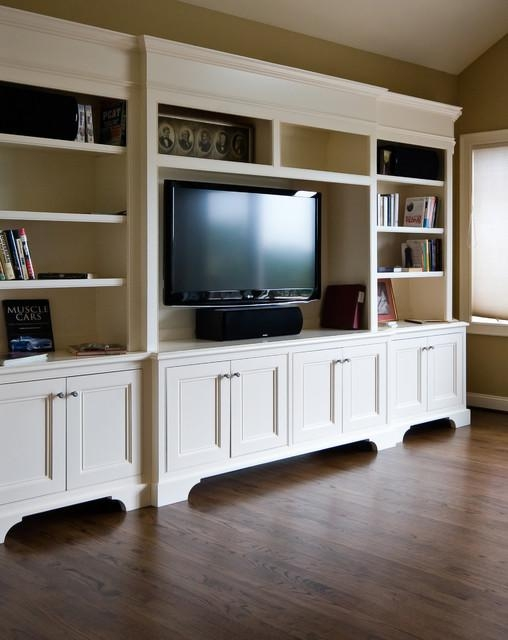 White Tv Cabinet/ Bookshelf – Traditional – Family Room Throughout 2018 Traditional Tv Cabinets (View 3 of 20)