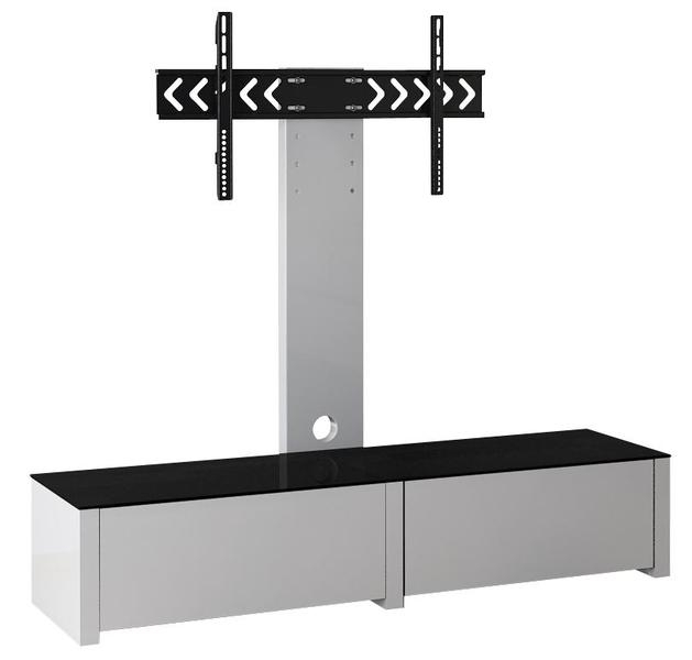 White Wooden Tv Cabinet Stand – Draws Wood Tv Stand Throughout 2018 Tv Stand Cantilever (View 13 of 20)