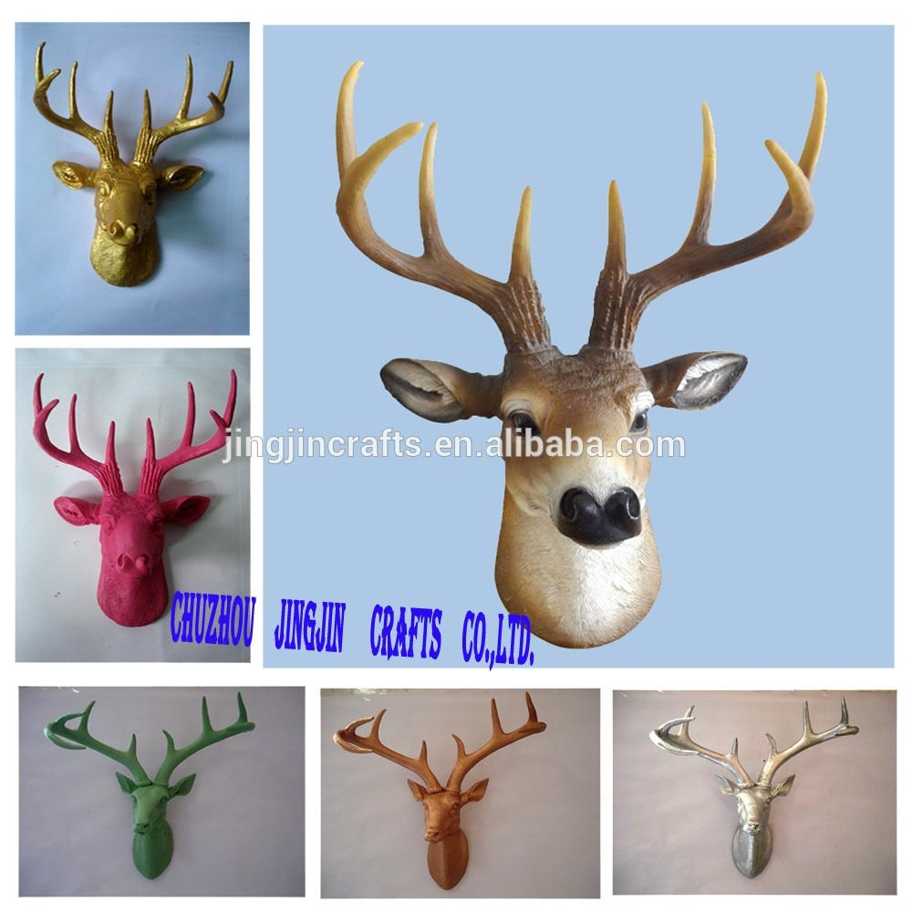 White,pink,blue,black,golden Colourful Painted Resin Deer Head Intended For Resin Animal Heads Wall Art (Image 19 of 20)