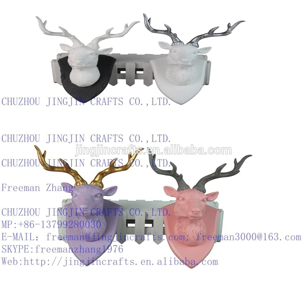 White,pink,blue,black,golden Colourful Painted Resin Deer Head Within Resin Animal Heads Wall Art (Image 20 of 20)