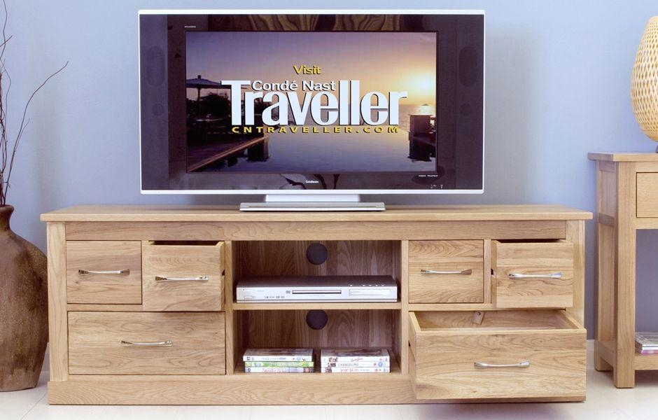 Widescreen Tv Cabinet With 6 Drawers | Big Blu Furniture Pertaining To Most Up To Date Oak Widescreen Tv Unit (Image 19 of 20)