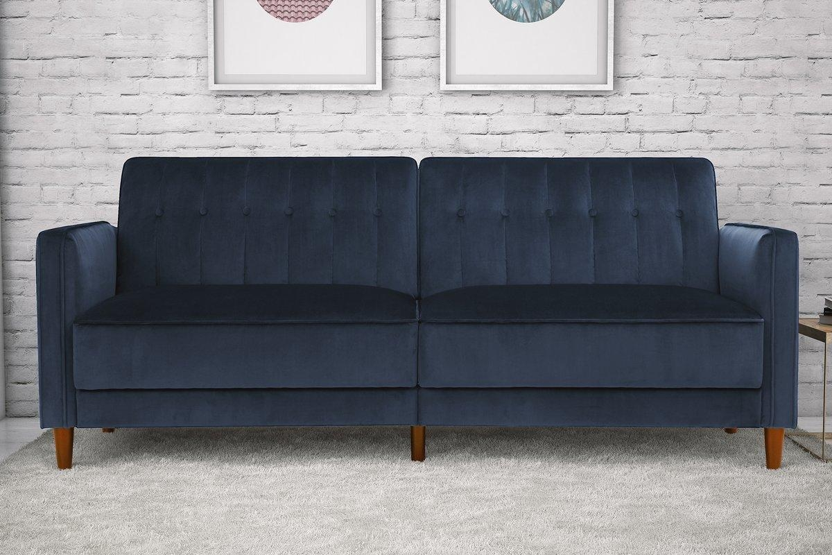 Willa Arlo Interiors Hammondale Pin Tufted Convertible Sofa In Blue Tufted Sofas (Image 21 of 22)
