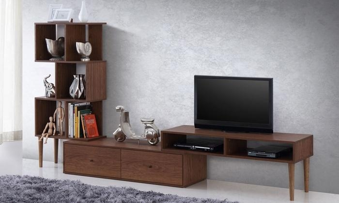 Winchester Mid-Century Modern Walnut Wood Tv Stand And Display regarding 2017 Dark Walnut Tv Stands