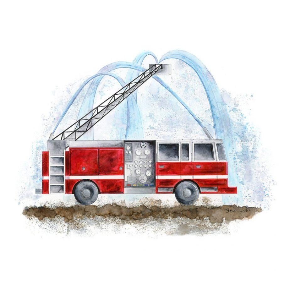 Winsome Etsy Fire Truck Wall Art Firefighter Nursery With Hose Pertaining To Fire Truck Wall Art (Image 20 of 20)