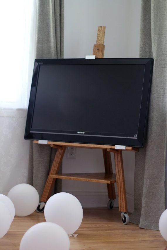 Wonderful Small Tv Stand For Bedroom And Flat Screen Tv Stands For With Most Current Easel Tv Stands For Flat Screens (Image 20 of 20)