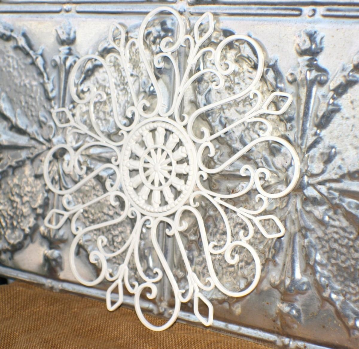 Wonderful Wall Decor White Metal Medallion Wall Art White Metal Within White Medallion Wall Art (Image 20 of 20)