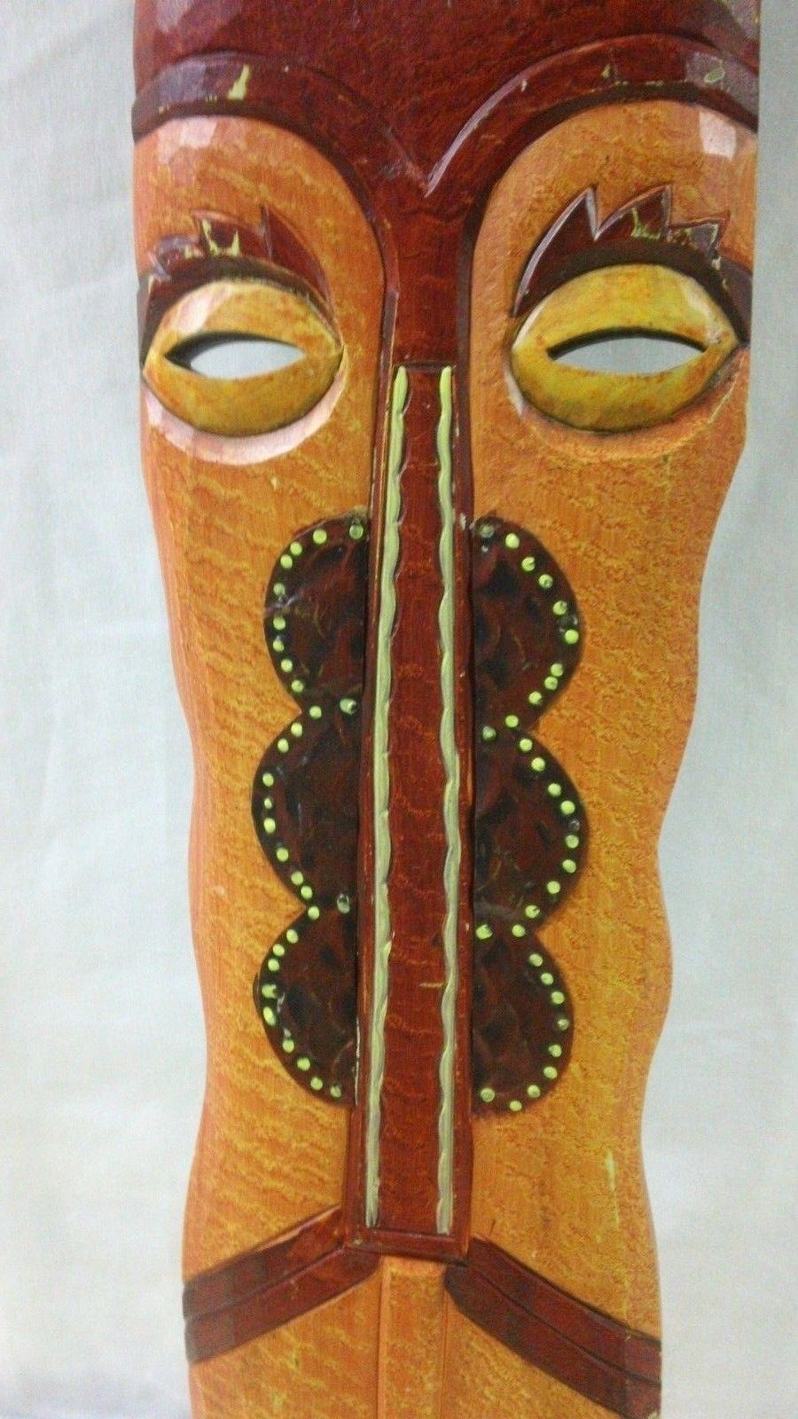 Wood Carved Face Wall Art Painted Tribal Mask Big Hang Native Head With Regard To Wooden Tribal Mask Wall Art (Image 19 of 20)