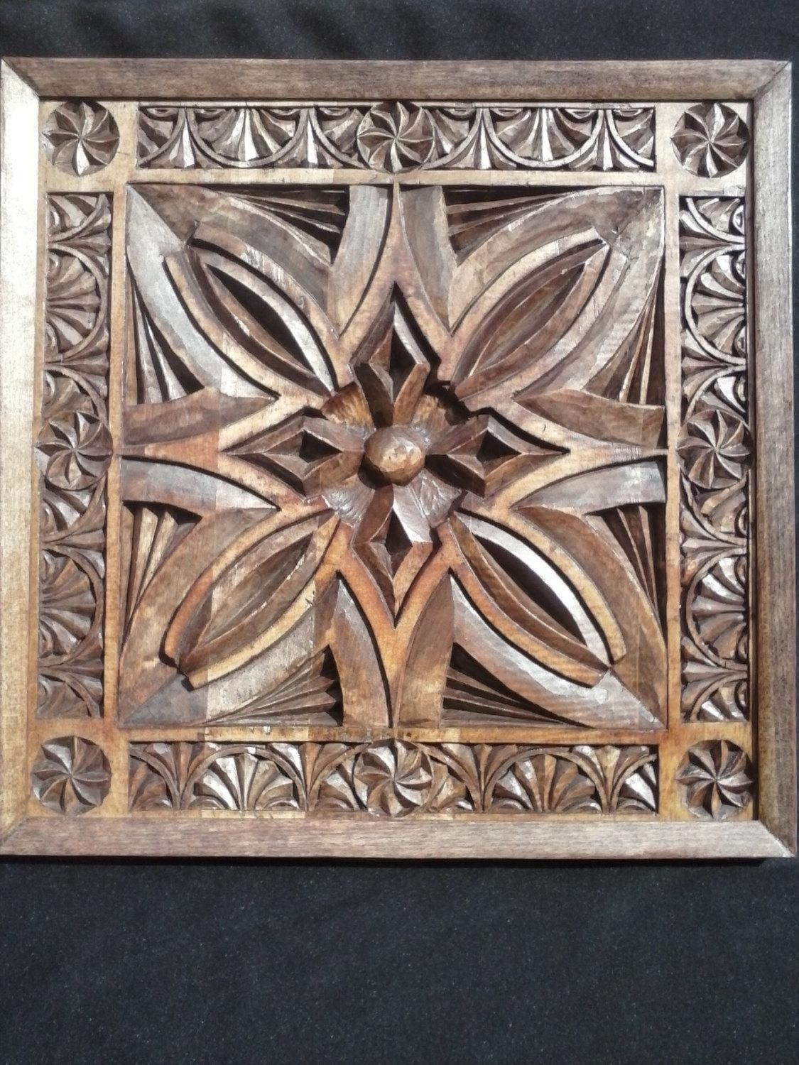 Wood Carving Wall Art Panel Chip Carvedhand In Tulip Wood With Regard To Stained Wood Wall Art (Image 19 of 20)