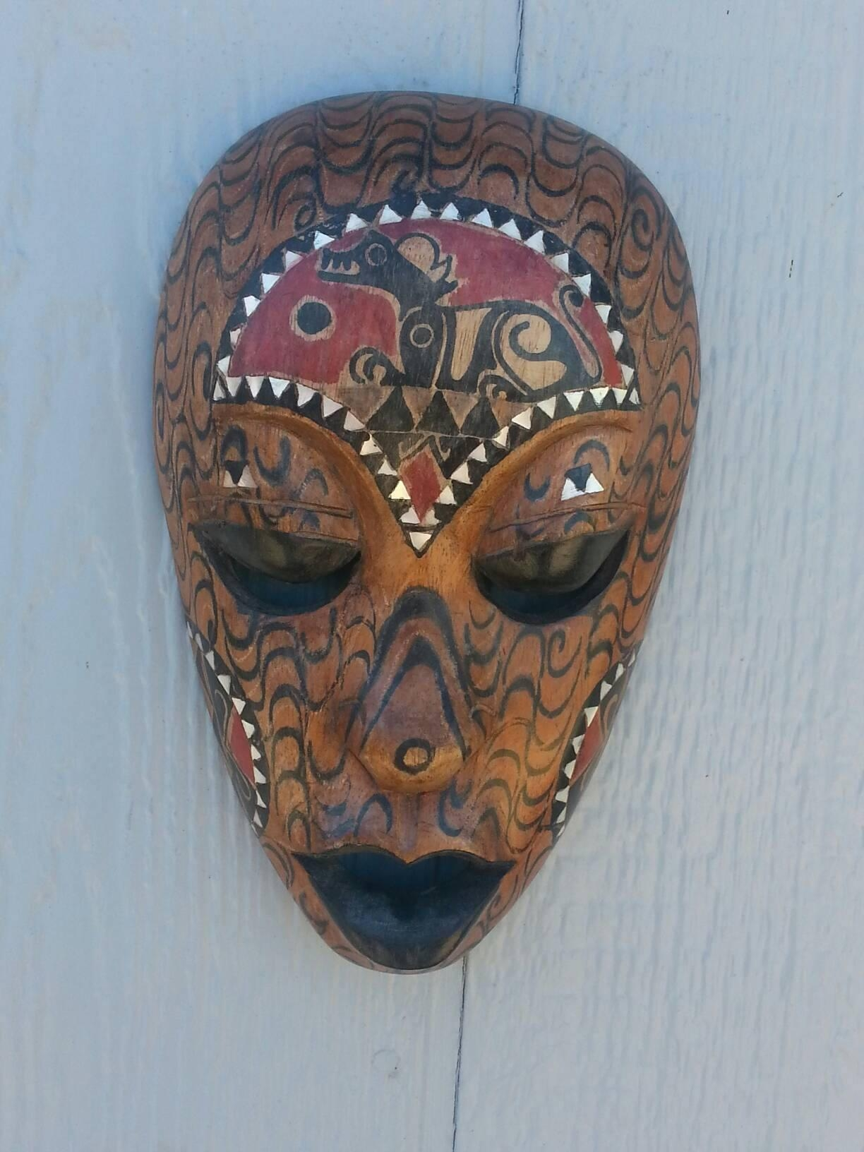 Wood Mask/ Abalone Inlay/ Tribal Mask/ Indonesian/ Vintage/ Unique With Wooden Tribal Mask Wall Art (Image 20 of 20)