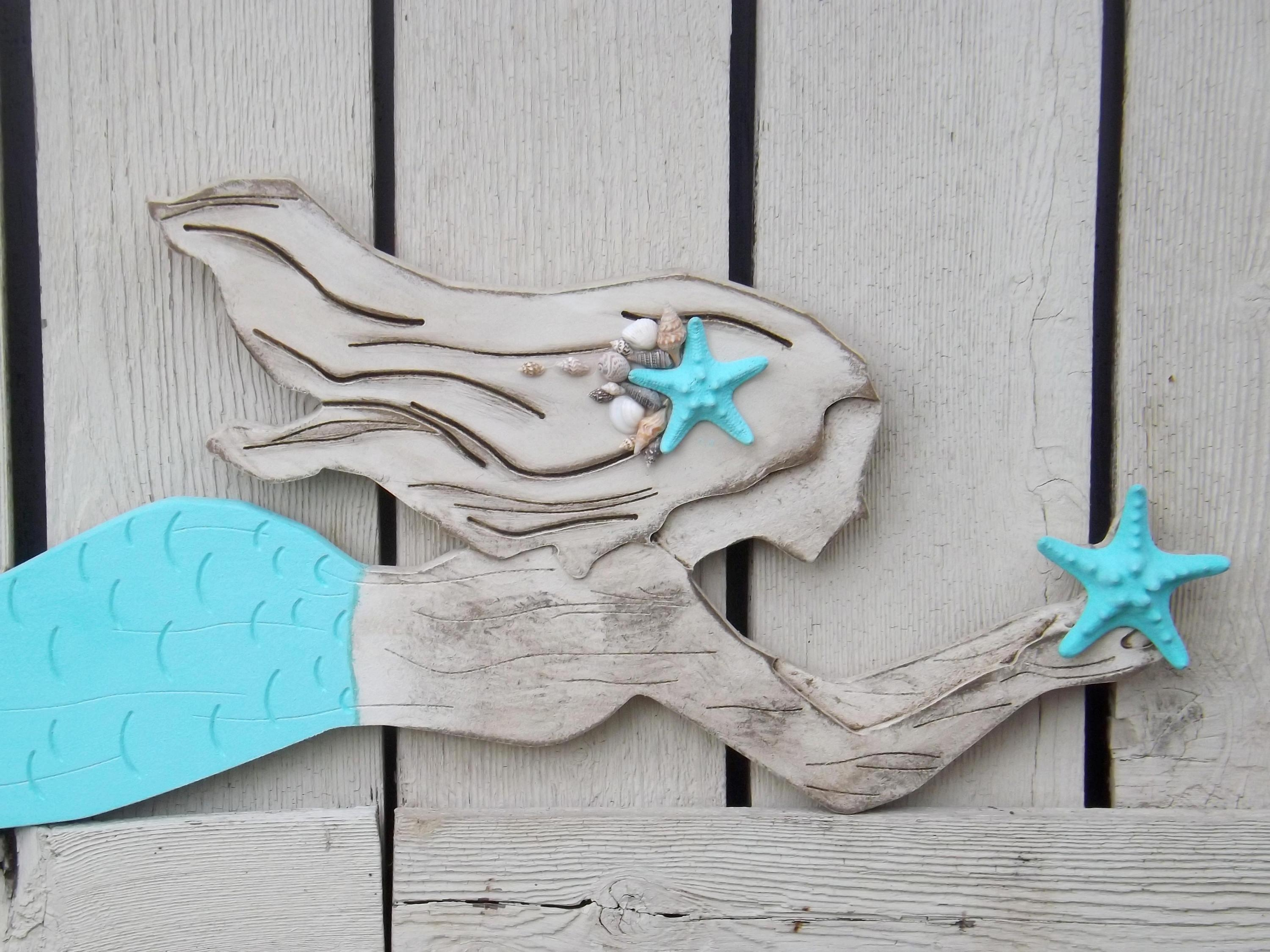 Wood Mermaid Wall Decor X Large Mermaid Mermaid Inside Mermaid Wood Wall Art (View 6 of 20)