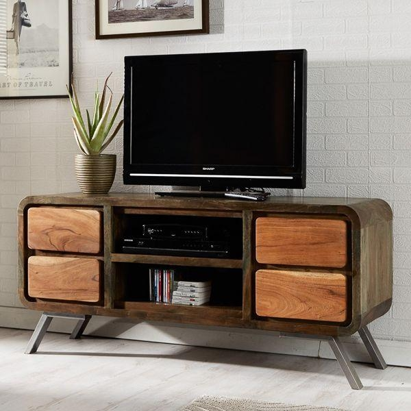 Wood Retro Tv Unit | Aspen Retro With Current Tv Drawer Units (Image 20 of 20)