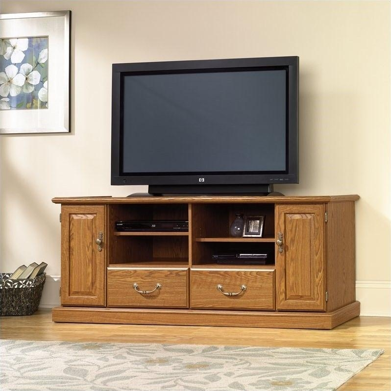 Wood Tv Stand In Carolina Oak Finish – 401346 In Newest Wooden Tv Stands For Flat Screens (Image 20 of 20)