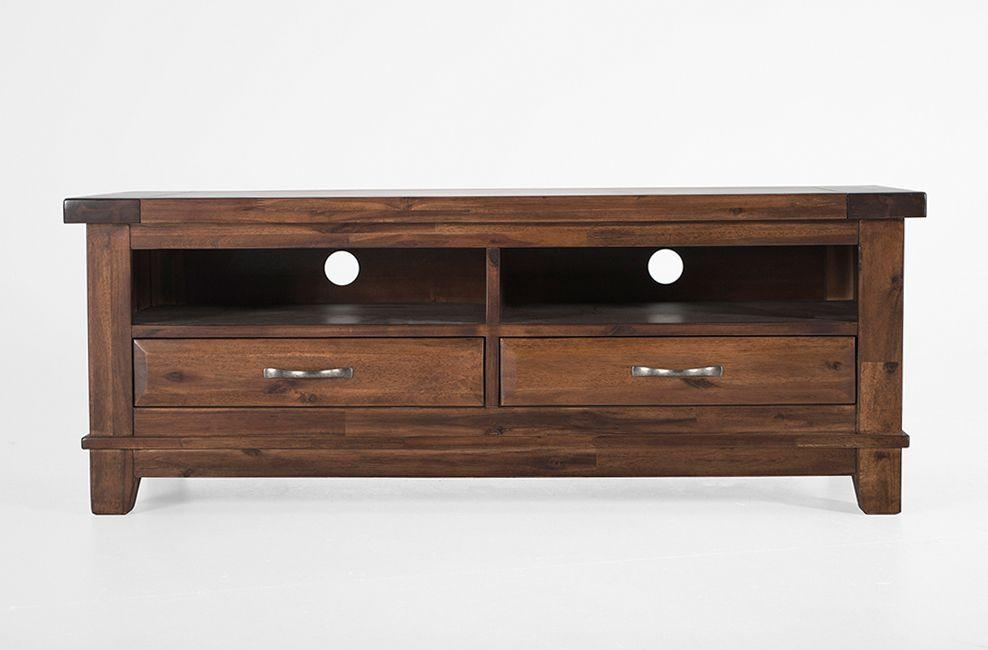 Wood Tv Unit With 2 Drawers | Emerson At Big Blu Inside 2017 Dark Wood Tv Stands (Image 20 of 20)