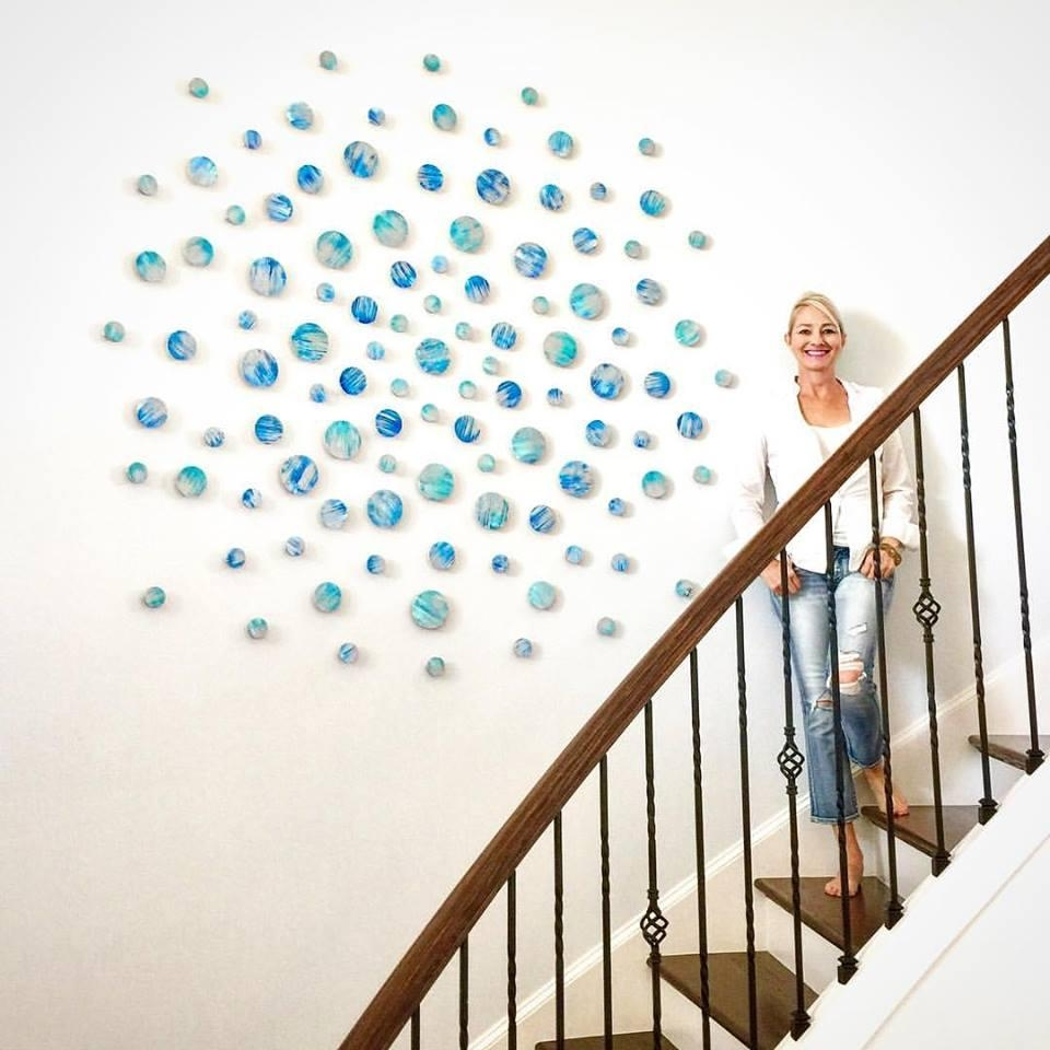 Wood Wall Art | Modern Wall Sculpture | Blue Abstract Wall Art In Rose Mary Wall Art (Photo 10 of 20)
