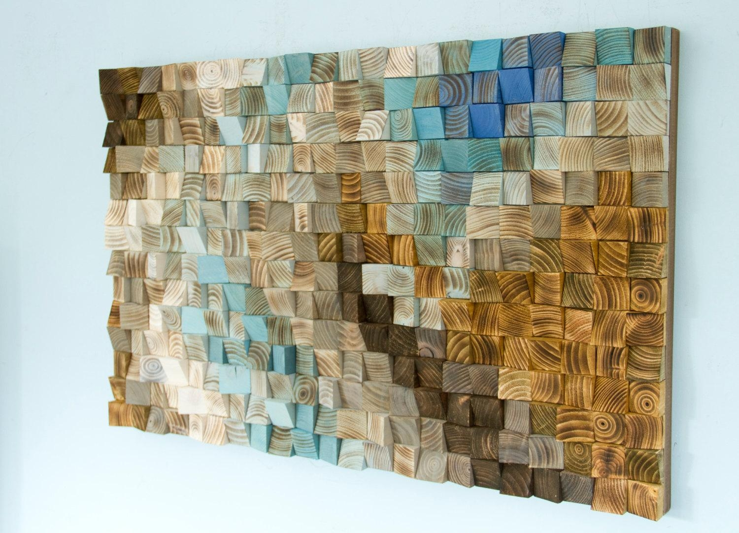 Wood Wall Art Mosaic, Office Wall Decor, Geometric Art, 24 X 36 Regarding Teal And Brown Wall Art (Image 20 of 20)