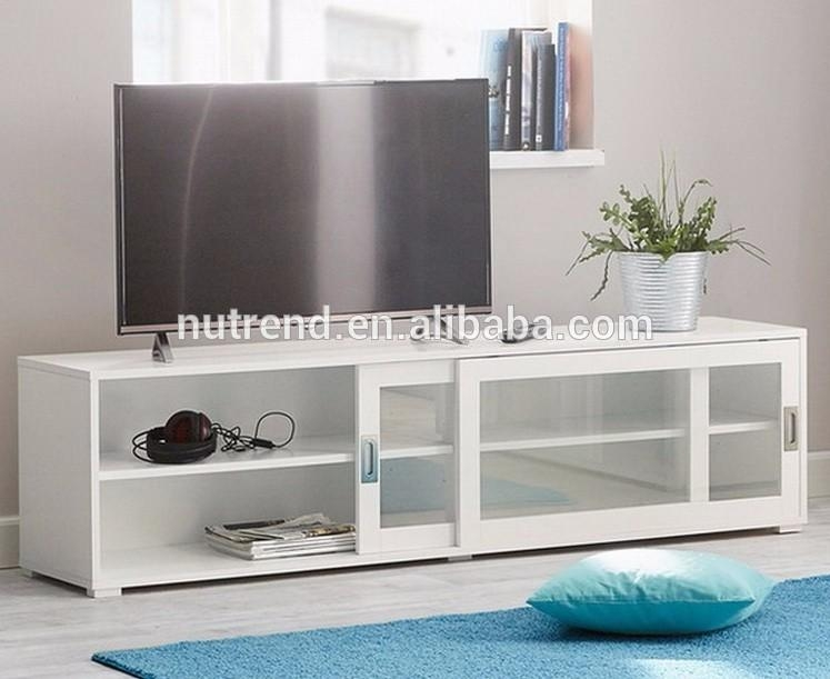Wooden Modern Tv Cabinet With Glass Sliding Doors Showcase Design With Most Current Glass Tv Cabinets With Doors (View 9 of 20)