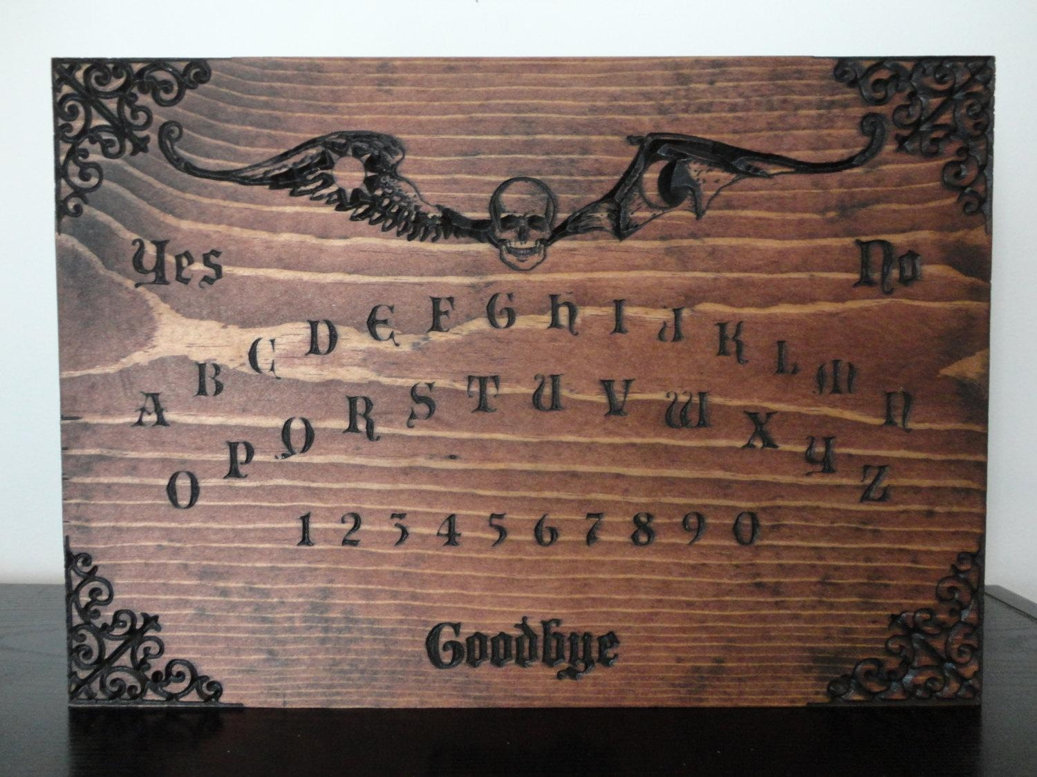 Wooden Ouija Board Carved In Pine Wall Art Occult Black Magic With Ouija Board Wall Art (View 4 of 20)