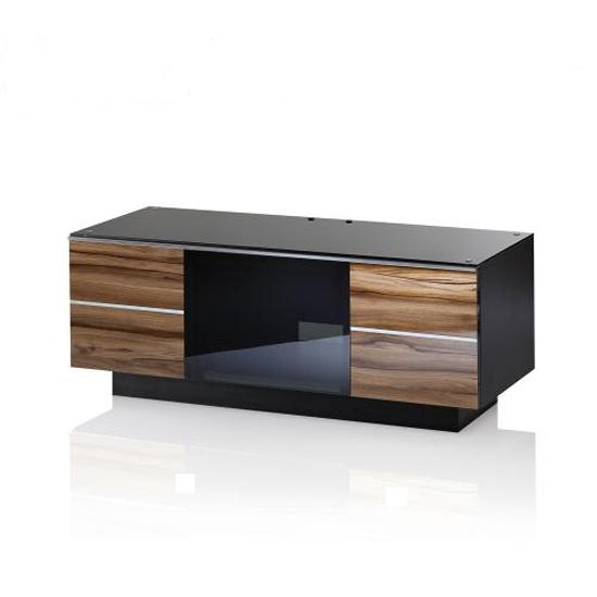 Wooden Tv Stand In Black Glass Top With 2 Drawers Regarding Recent Wood Tv Stand With Glass Top (View 6 of 20)