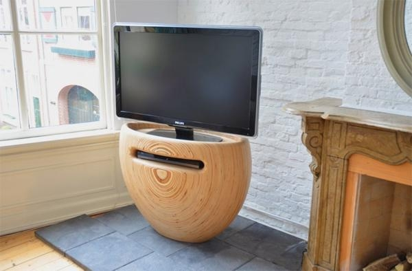 Wooden Tv Stands With Stylish Rounded From Leon Van Zanten | Home In Recent Stylish Tv Stands (View 4 of 20)